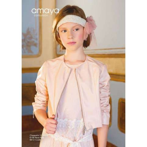 chaqueta polipiel en color rosa de amaya fashion for kids