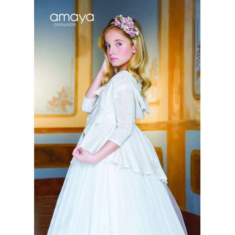 amaya fashion for kids chaqueta beige de comunion