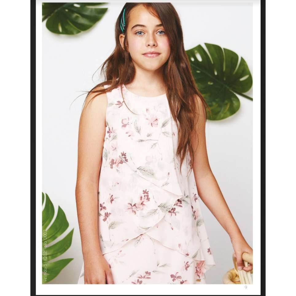 Amaya vestido junior tres chic rosa estampado